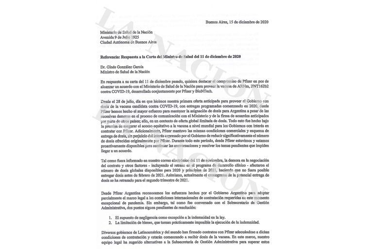 Documentos clave de la negociación con Pfizer