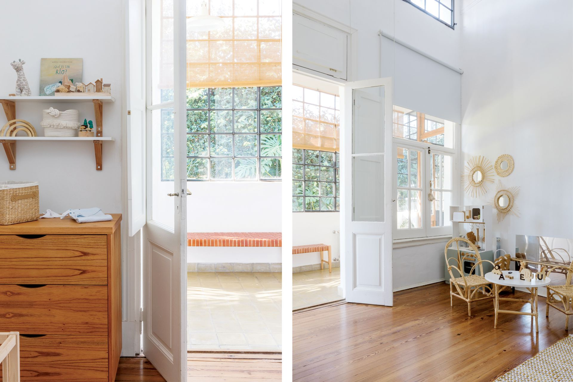 Cómoda y estantes (Liten Co). Cocinita (Puerto de Frutos). Espejos con marcos de fibras naturales (Casa Perri).