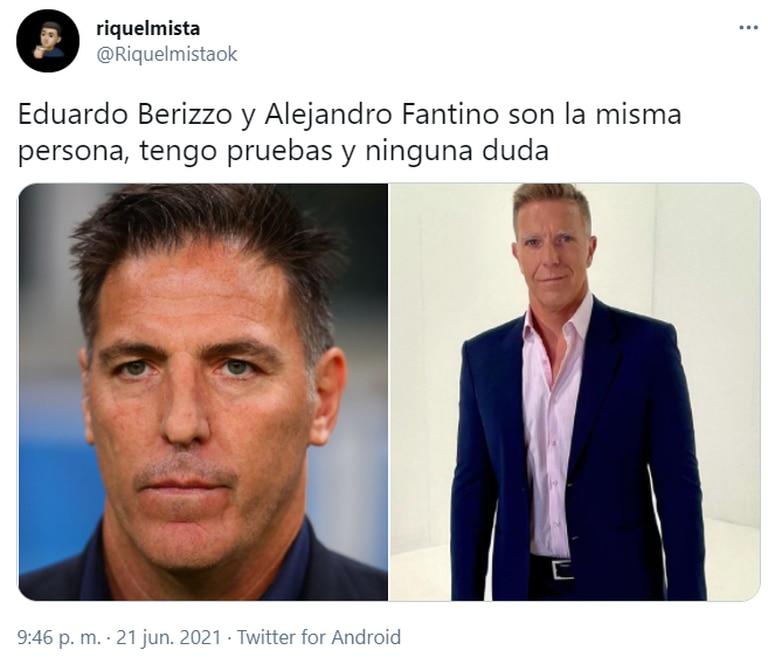 """Mientras seguía el partido que la Selección le ganó 1-0 a Paraguay, las redes estallaron por el parecido entre el """"Toto"""" Berizzo y Alejandro Fantino. Fuente: Twitter."""