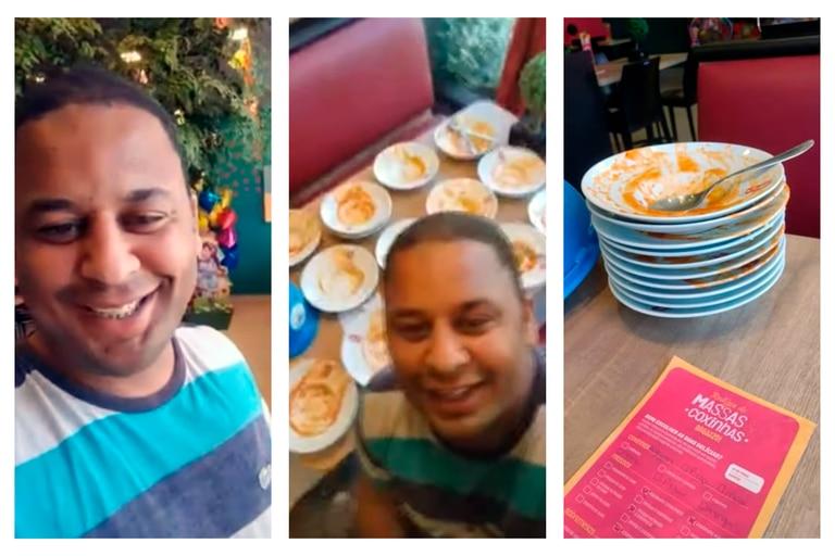 El caso de  João Carlos Apolonio se volvió viral en poco tiempo: consumió 15 platos de comida en un tenedor libre y quiso pedir ocho más antes de que lo echaran del lugar
