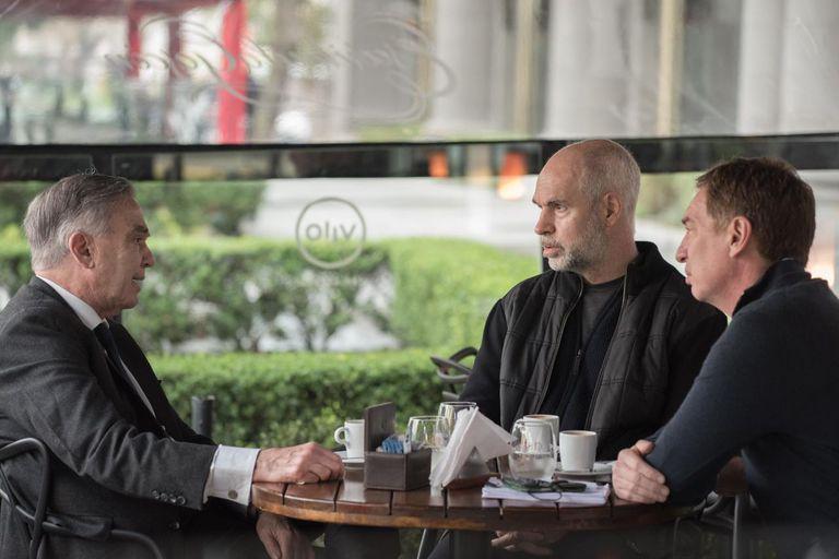 Miguel Pichetto, este jueves, con Horacio Rodríguez Larreta y Diego Santilli