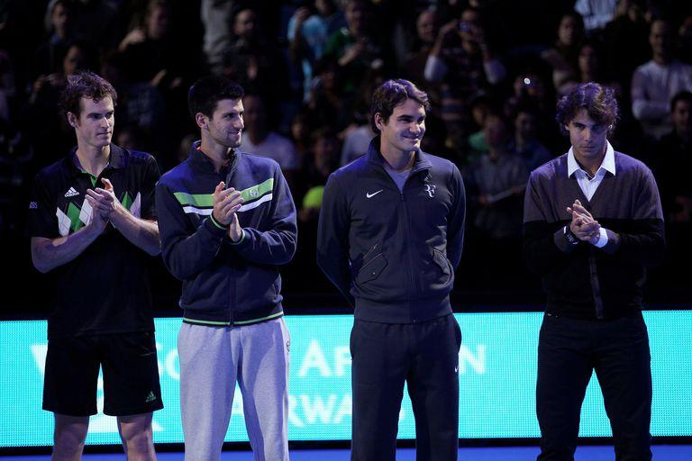En el Masters de Londres 2010, los integrantes del fabuloso Big 4 del tenis moderno: Andy Murray (Gran Bretaña), Novak Djokovic (Serbia), Roger Federer (Suiza) y Rafael Nadal (España).
