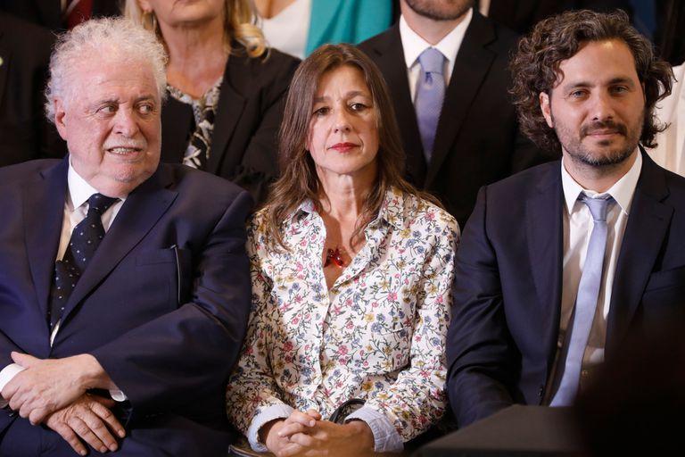Ginés González García (Salud), Sabina Frederic (Seguridad) y Santiago Cafiero (jefe de Gabinete)