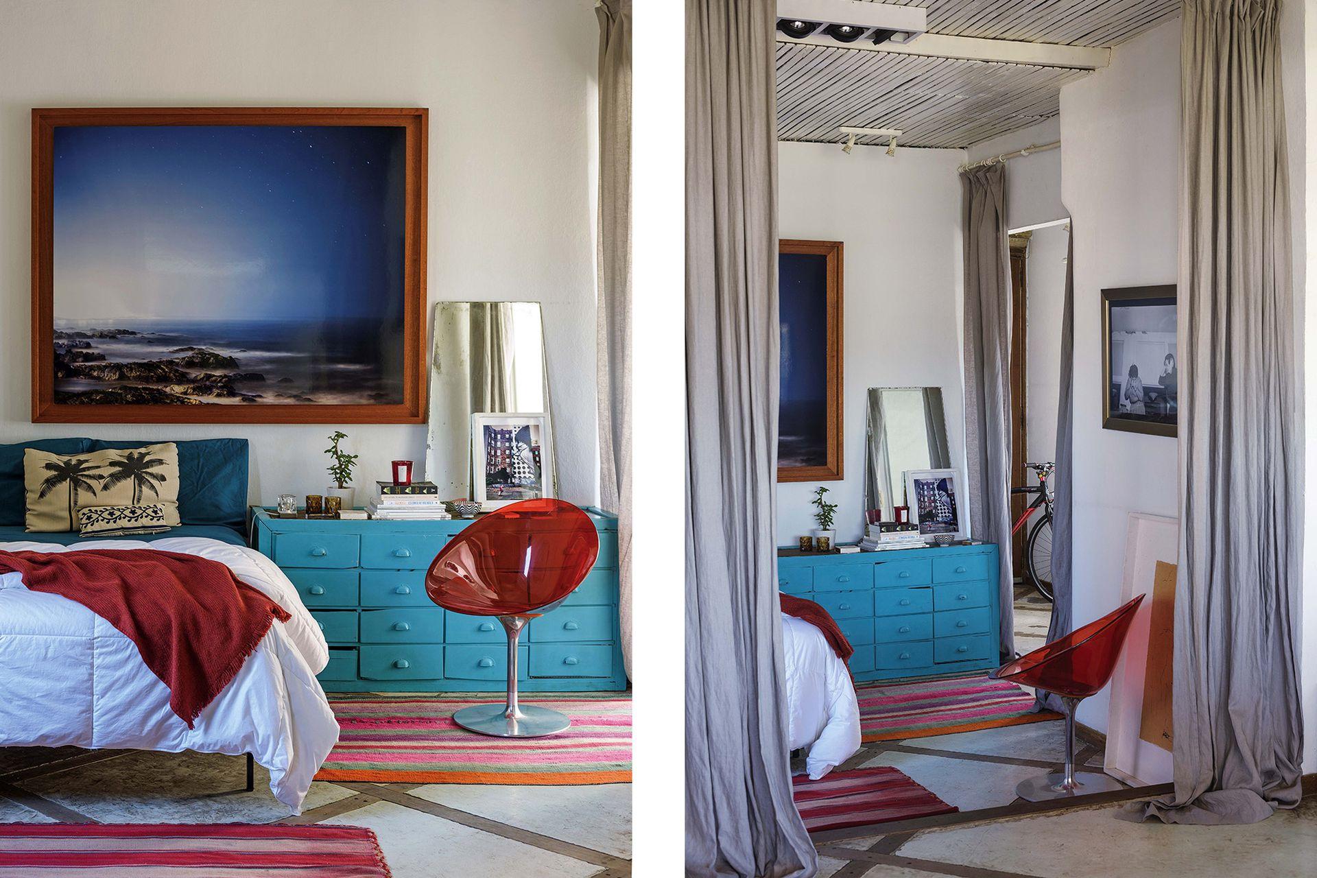 La cama se apoyó contra una de las paredes, para que el paso hacia el living fuera más amable.