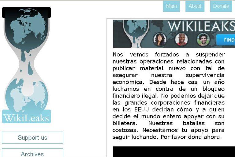 WikiLeaks pide fondos para evitar la quiebra