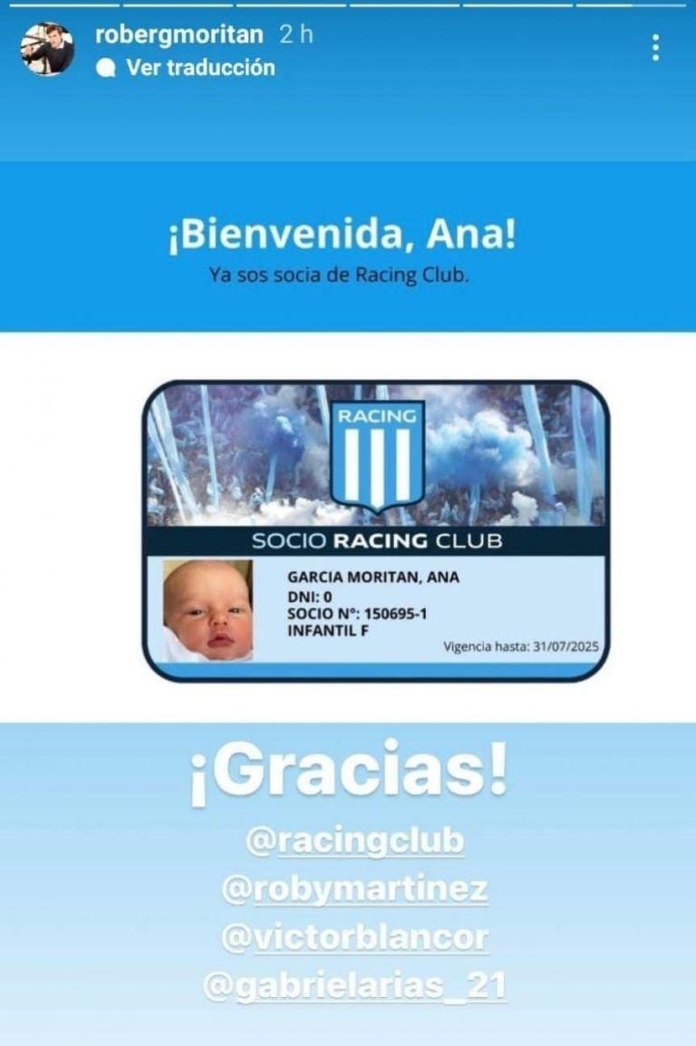 El empresario gastronómico posteó la foto del carnet que le entregó la institución de Avellaneda a la recién nacida