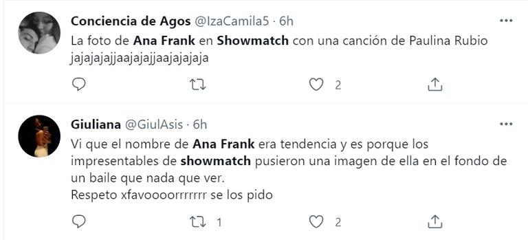 La indignación en las redes por la foto de Ana Frank en la pista de baile de ShowMatch