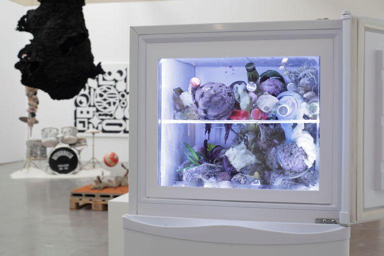 En primer plano, obra de Adrián Villar Rojas: una heladera con contenido orgánico en el freezer, que se modifica con el tiempo