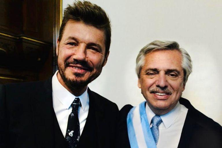 Marcelo Tinelli, a cargo de la Superliga, y Alberto Fernández, presidente de la Argentina
