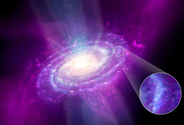 08-09-2021 Las nubes y corrientes de gas prístino cósmico (magenta) se acumulan en la Vía Láctea, pero este gas no se mezcla de manera eficiente en el disco galáctico, como se destaca en la vecindad solar (zoom). POLITICA INVESTIGACIÓN Y TECNOLOGÍA DR MARK A. GARLICK