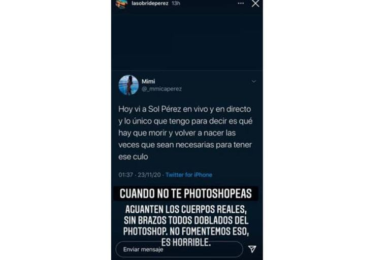 """Sol Pérez se declaró a favor de los """"cuerpos reales"""" y en contra de usar Photoshop para editar su figura (Instagram)"""