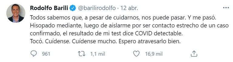 El tuit de Rodolfo Barili cuando anunció que tenía coronavirus