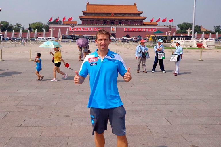 En las calles de China en 2014, cuando se disputó la Supercopa de Italia entre Juventus y Napoli.