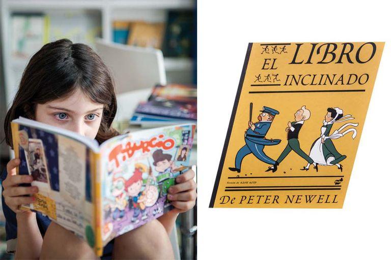Derecha: El libro inclinado, Peter Newell, una calle empinada del barrio abre el juego entre formato y contenido, (Thule, $230)