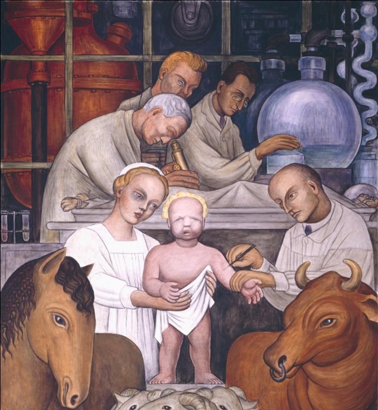 """Detalle del fresco sobre la vacunación que pintó el mexicano Diego Rivera en los """"Murales de la Industria de Detroit"""" (1932-1933)"""
