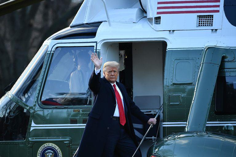 Trump, el pasado miércoles, al dejar la Casa Blanca