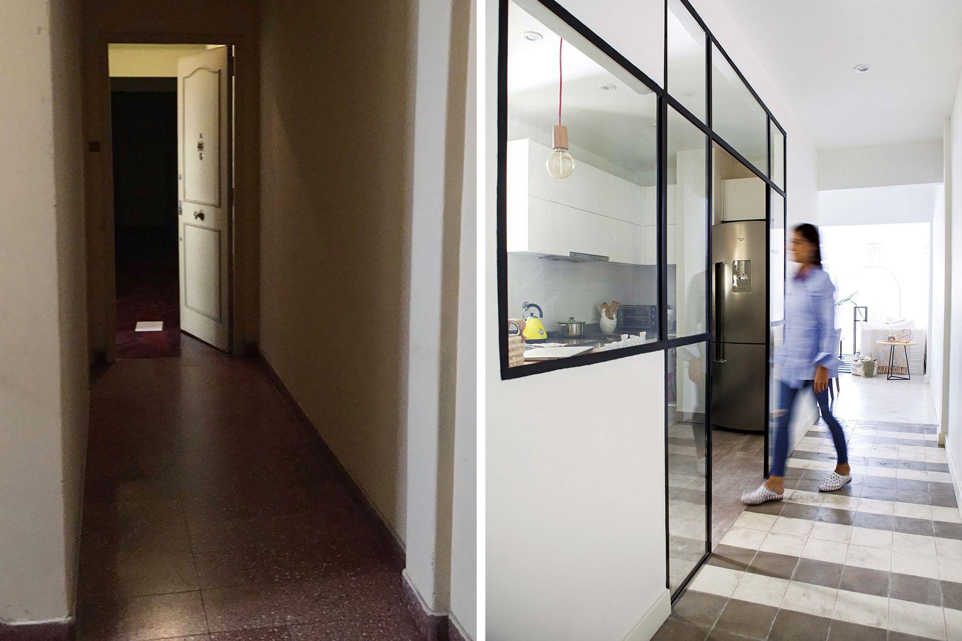 El largo pasillo de acceso corre en paralelo a la cocina (integrada por un cerramiento de vidrio repartido) y desemboca en el comedor.