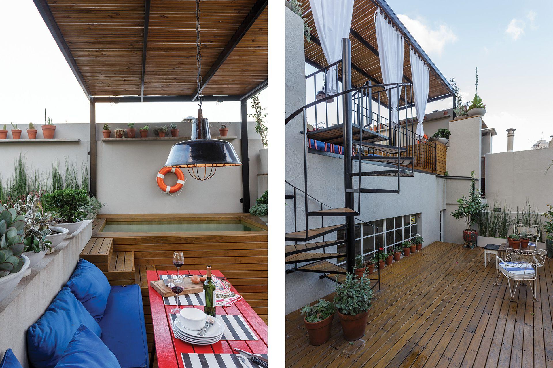 DESPUÉS: Se rediseñó la terraza existente incorporando un deck de madera. La ventana de hierro comunica visualmente con la cocina.