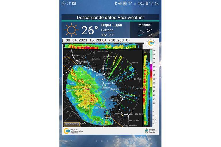 El radar de Ezeiza, otra opción del SMN, en el widget de Meteorología Argentina