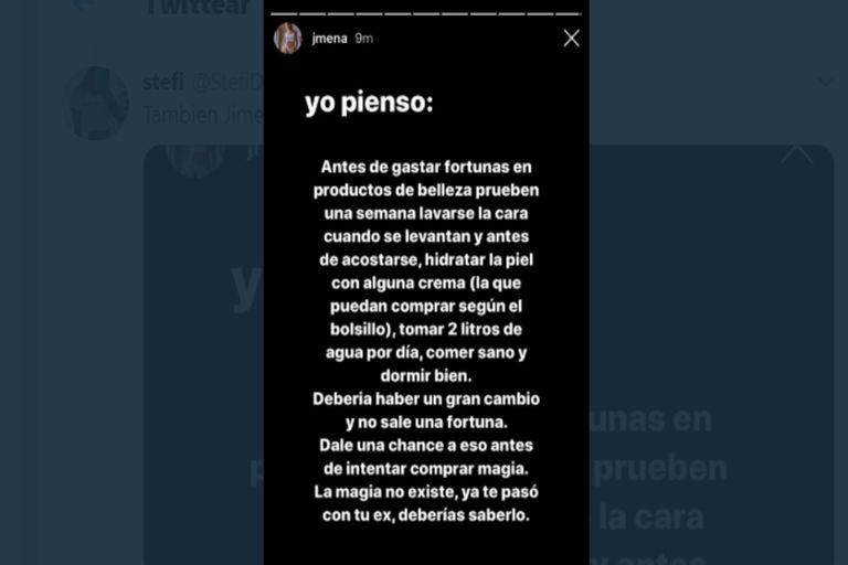 La cantante y actriz Jimena Barón publicó una serie de stories explicando por qué no se sentiría cómoda promocionando una máquina de este estilo