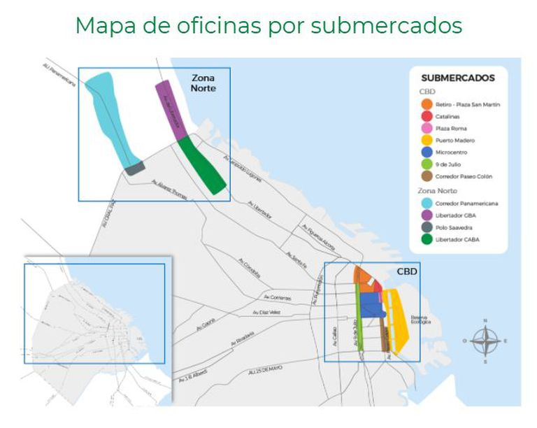 Mapa de oficinas por submercados por L.J.Ramos
