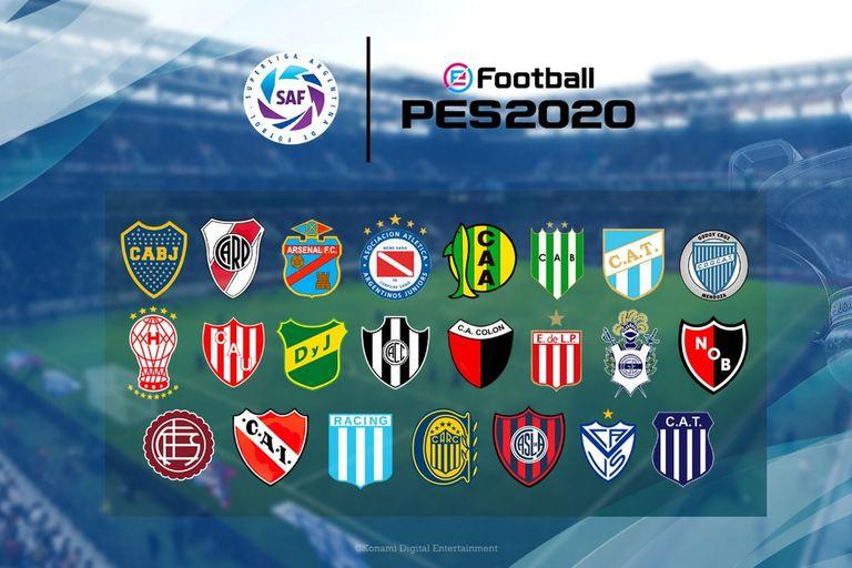 El eFootball PES 2020 tendrá a todos los equipos de la Superliga Argentina de Fútbol