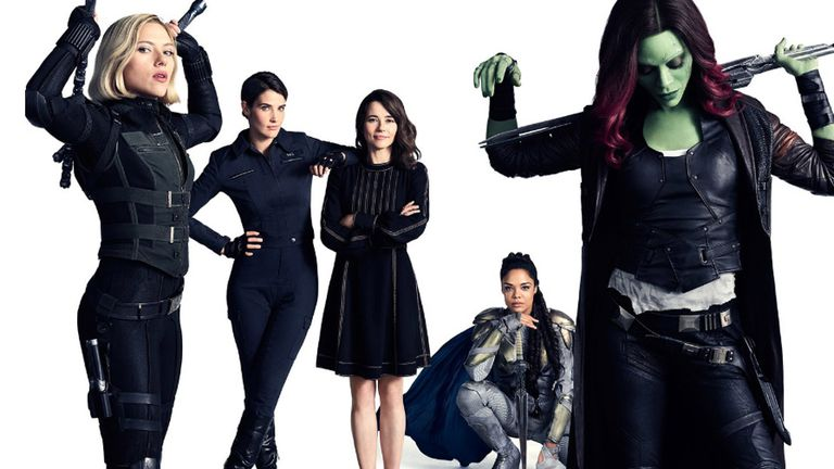 Las mujeres de la saga: Scarlett Johansson (Viuda negra), Cobie Smulders (Maria Hill), Linda Cardellini (Laura Barton), Tessa Thompson (Valkyrie) y Zoe Saldana (Gamora)