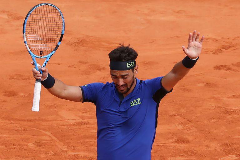 Fabio Fognini celebra su inolvidable victoria ante Rafael Nadal