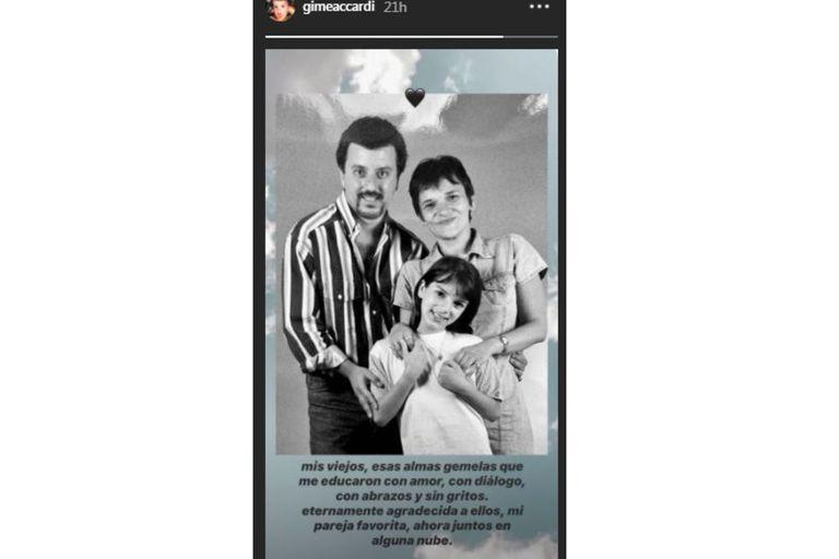 La publicación de Gime Accardi para recordar a su papá y a su mamá. Fuente: Instagram