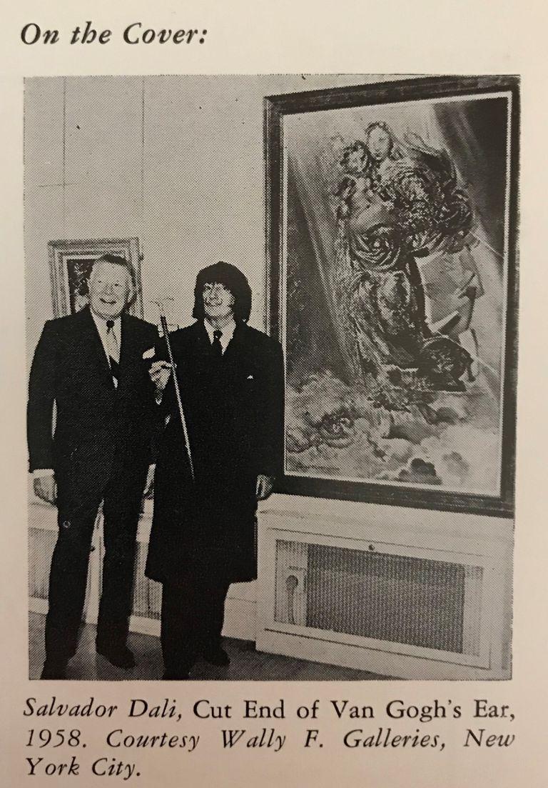 """""""En la portada-Salvador Dalí"""", Art Voices, 21/12/1967, Nueva York, p. 5 (imagen indirecta).  La obra de Dalí en una de sus últimas exhibiciones públicas, documento que se incluye en el sitio www.cosmicmadonna.com, que ahora vende aquella pintura"""