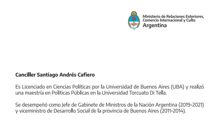 El CV de Santiago Cafiero en la Cancillería Argentina