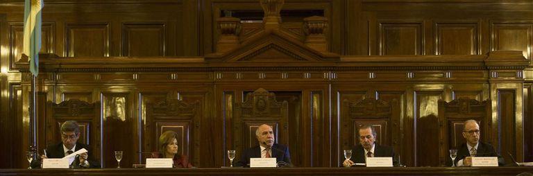 Los ministros Rosatti, Highton, Lorenzetti, Maqueda y Rosenkrantz