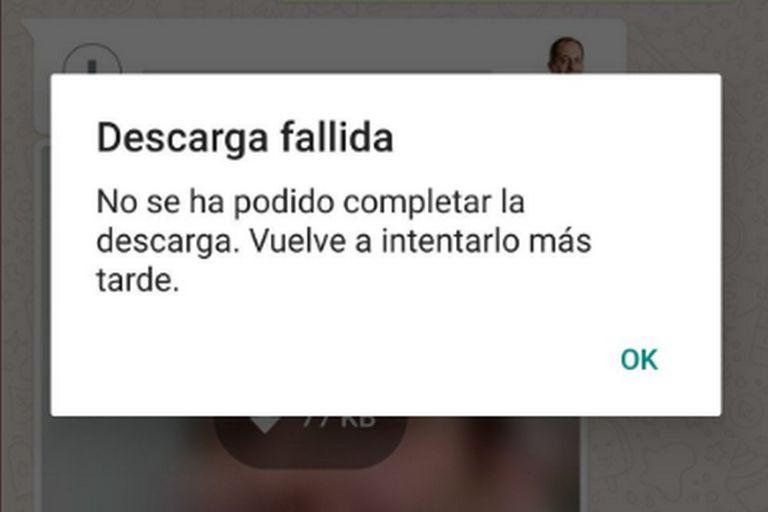Este es el mensaje de error que reciben los usuarios al intentar descargar un audio, foto o video en WhatsApp