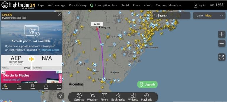 El avión de la provincia de Tucumán, en el momento de salir del país, a las 9:35AM de Argentina