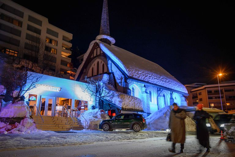 The Freie Evangelische Gemeinde, or the English Church is seen on Janury 21, 2019 during the World Economic Forum annual meeting in Davos. - The church, is one of more than a dozen buildings in the town that have been rented out to multinational corporations for events during the annual World Econom