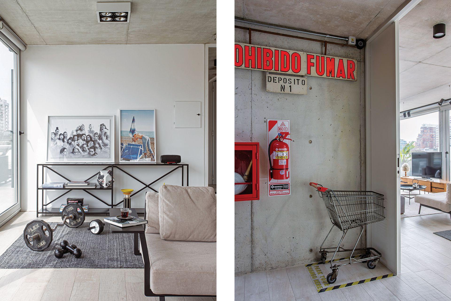 Consola de hierro (Estudio CDW). Fotos de Fausto Elizalde y Francesca Darget. En la entrada, un carro de súper y el cartel luminoso, objetos que cobran una nueva dimensión artística.