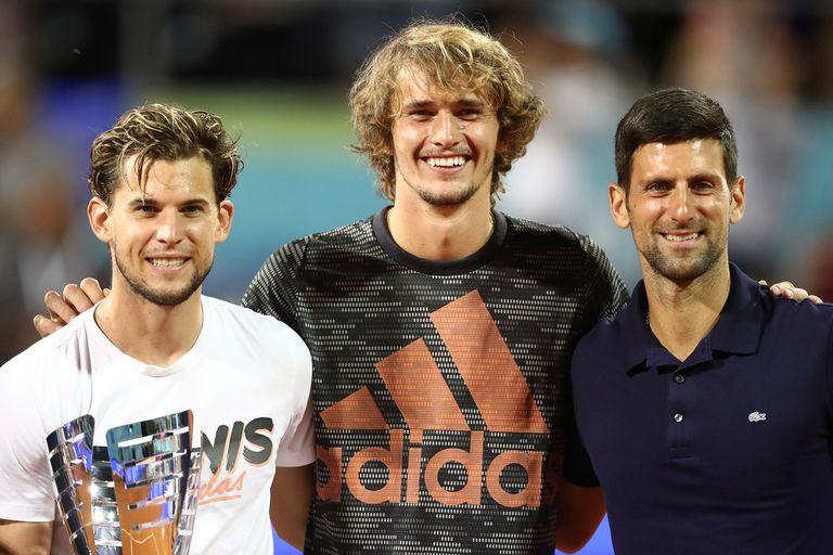 """Dominic Thiem, Alexander Zverev y Novak Djokovic, tres de las figuras que participaron del """"Adria Tour"""", en Serbia."""