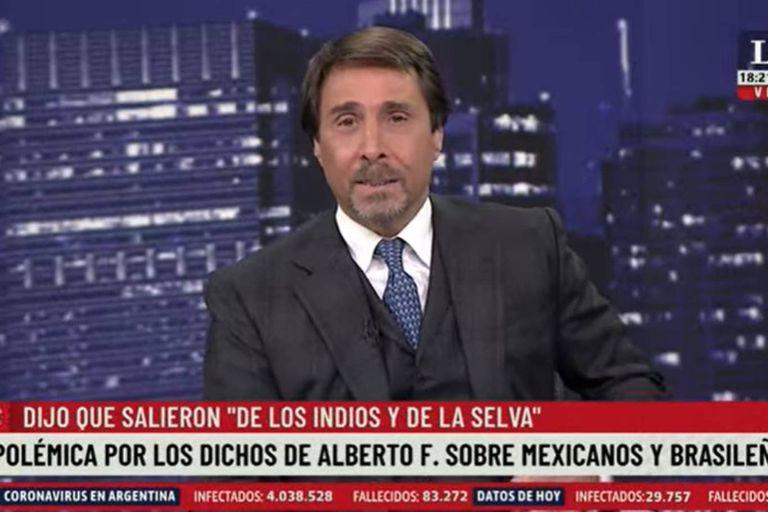 """Eduardo Feinmann calificó como """"vergüenza nacional"""" a las declaraciones de Alberto Fernández sobre el origen de los brasileños, los mexicanos y los argentinos"""