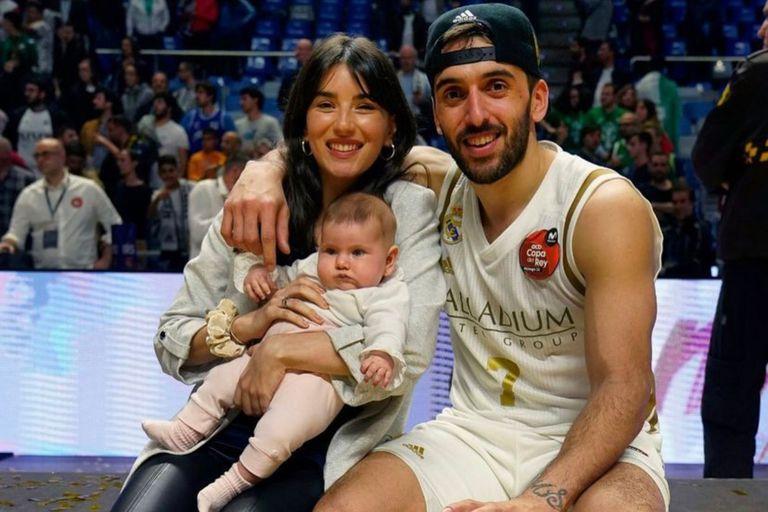 Facu Campazzo con su familia, cuando todavía jugaba en el Real Madrid. Crédito: Instagram