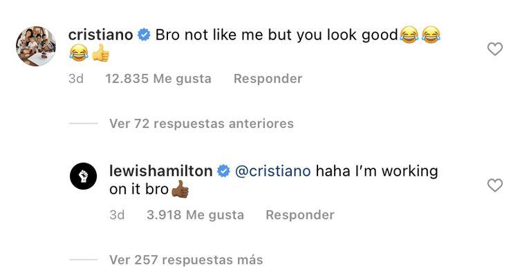 El comentario de Cristiano en la foto de Hamilton