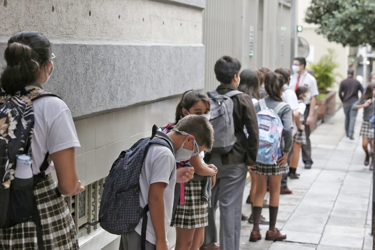 Inicio de clases, la semana pasada, en el colegio Islands, de Belgrano