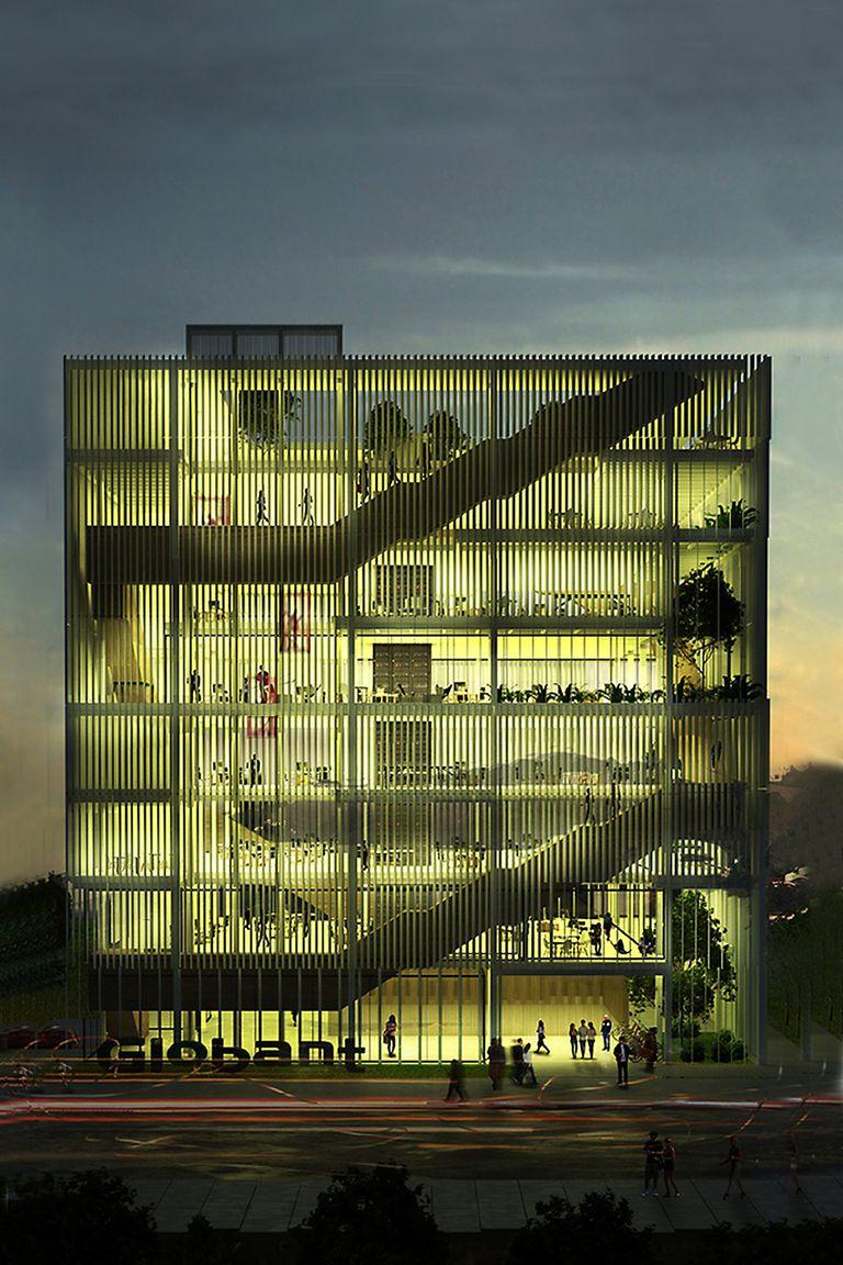 PUJANZA DIGITAL. Este render anticipa el aspecto que tendrá el edificio que Globant construye en Tandil, sede de unas 50 empresas tecnológicas