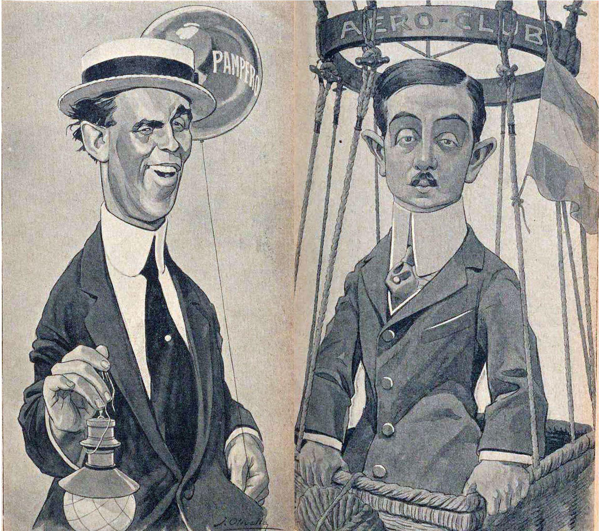 Caricaturas de Jorge Newbery y Aarón Anchorena, primeros pilotos del Pampero, publicados en la revista PBT.
