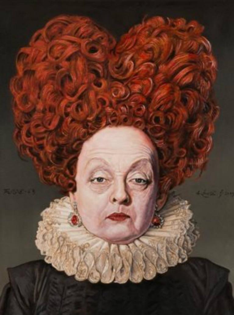 """La Reina de Corazones, según Alfredo Sabat, obra exhibida en la muestra """"Reflejos de Alicia"""""""