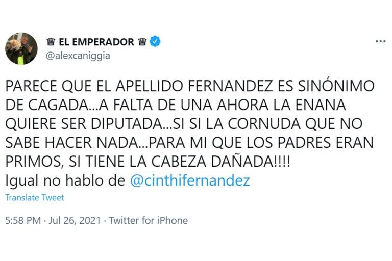 El tuit de Alex Caniggia