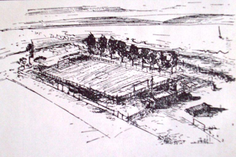 El croquis de la cancha de la Dársena Sud en la que empezó a jugar River a principios del Siglo XX