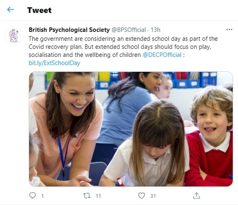 La Sociedad Británica de Psicología se pronunció en contra del plan para extender la jornada educativa en Inglaterra