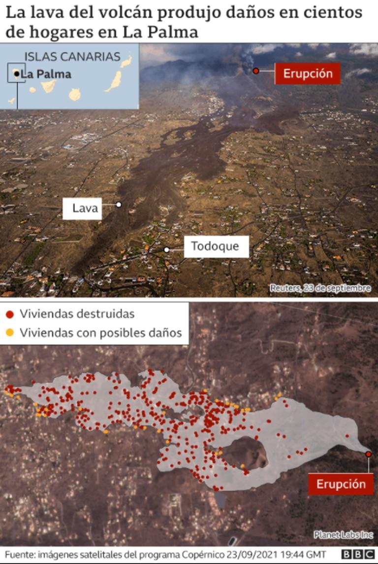 Las zonas afectadas por el volcán