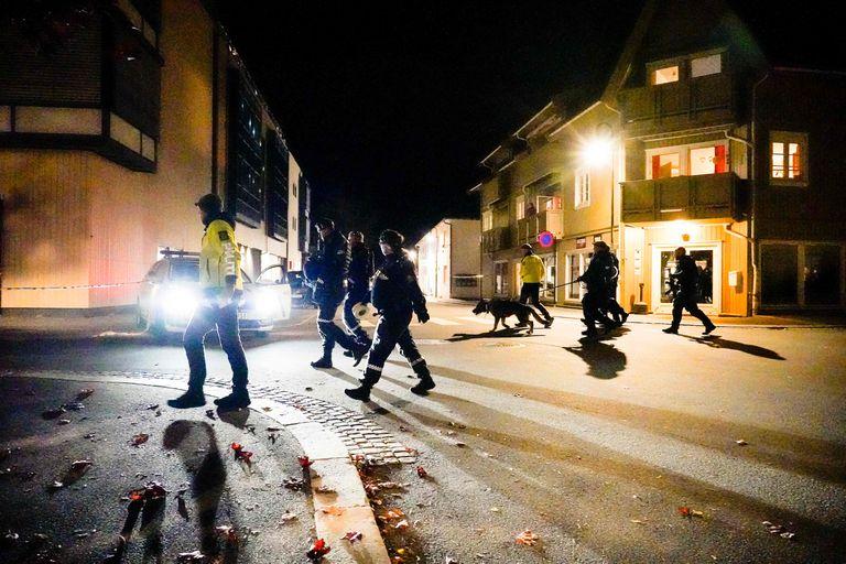 Efectivos de la policía noruega en la escena del ataque, en Kongsberg (Photo by Håkon Mosvold Larsen / NTB / AFP) / Norway OUT