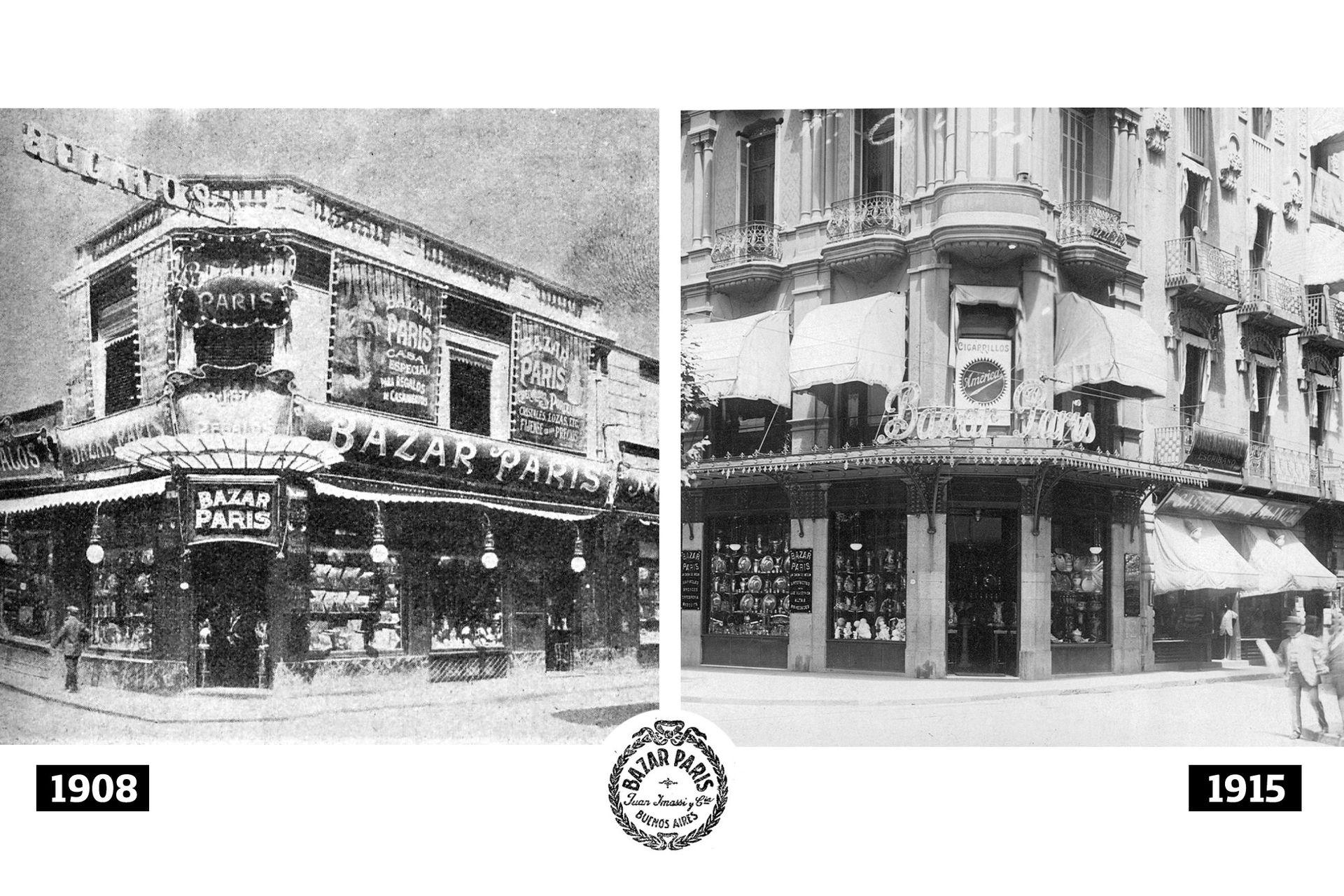 Las dos esquinas y momentos del Bazar Paris: en Hipólito Irigoyen al 700, y, más tarde, en Av. de Mayo al 700.